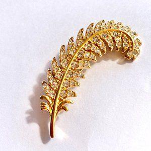 Swarovski Gold Crystal Feather Brooch